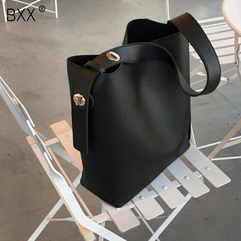 [BXX] Fashion All-match Large Capacity Bucket Bag Simple Style PU Leather Single Shoulder Women Handbags Female Casual Bag HI134