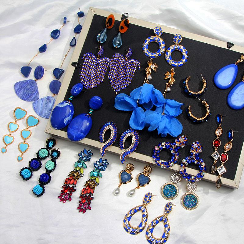 Flatfoosie-pendientes de gota de resina de cristal azul para mujer, aretes geométricos hechos a mano con cuentas, joyería de boda 2020
