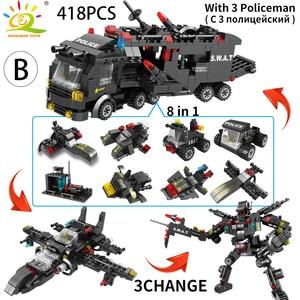 Image 4 - HUIQIBAO SWAT Stazione di Polizia modello di camion Blocchi di Costruzione della Città di macchina Elicottero Car Figure Mattoni Giocattolo Educativo Per I Bambini