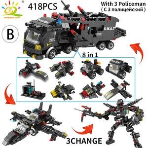 Image 4 - HUIQIBAO SWAT polis İstasyonu kamyon modeli yapı taşları şehir makinesi helikopter araba rakamlar tuğla eğitici oyuncak çocuklar için