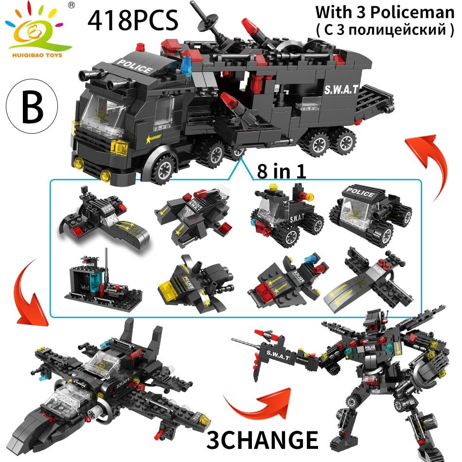 Image 4 - HUIQIBAO SWAT полицейская станция модель грузовика строительные блоки городская машина вертолет автомобиль фигурки кирпичи обучающая игрушка для детейБлочные конструкторы   -