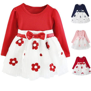Baby Kids Dresses for Girls Winter Autumn Cotton Flowers Dress Long Sleeves Girl's Clothes Toddlers Girl Clothing vestido bebes(China)