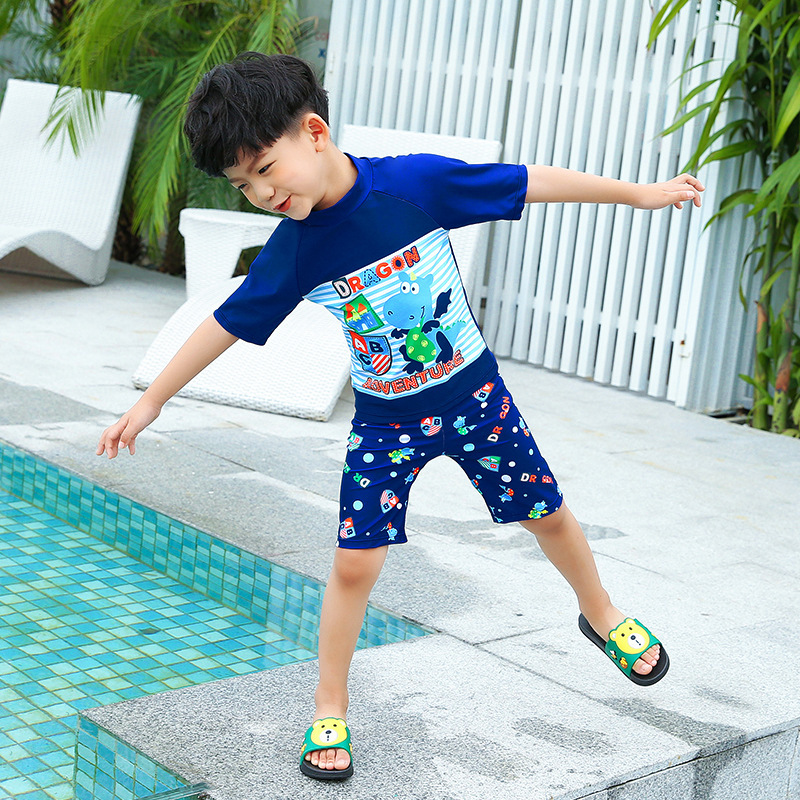 2018 New Style Hot Sales Split Type Two-Piece Bathing Suit Send Swimming Cap Cartoon Small Stand Collar BOY'S Er Tong Tao Bathin