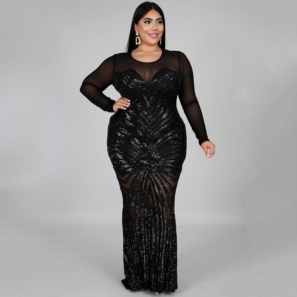 Paillettes pure maille Sexy Bodycob Maxi robe femmes grande taille voir à travers la boîte de nuit fête robes moulantes