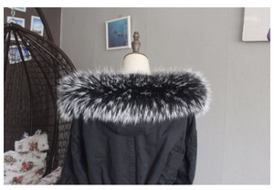 Image 5 - 100% Real Natural Raccoon Fur Collar Hood Trim Winter Women Men Down Coat Fur Scarves Black Scarf Custom Zxx756 Fashion Decor