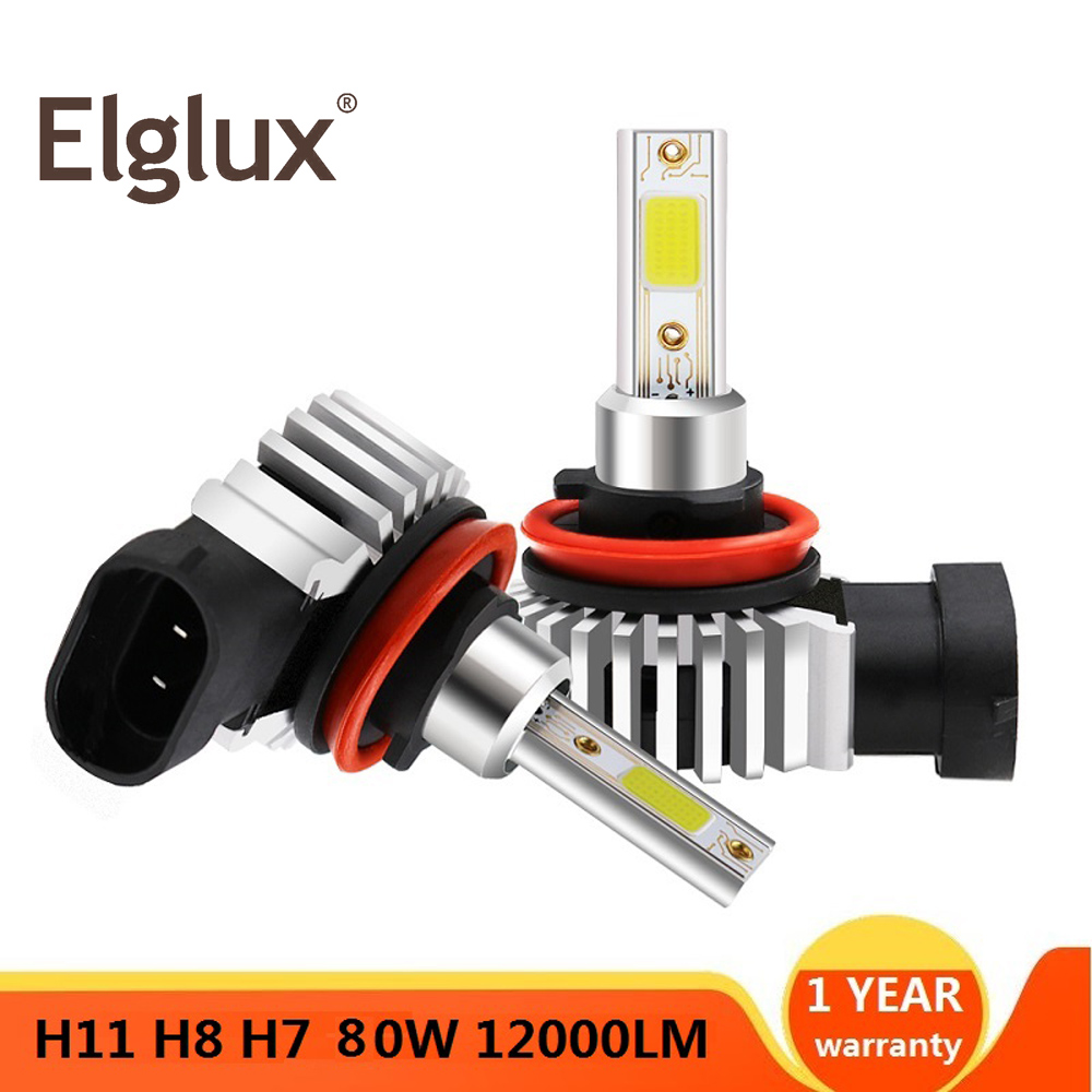 2Pcs 80W Led Turbo Car Headlight H7 LED H3 H4 H1 H8 H11 9005 HB3 9006 HB4 COB 12000LM 6000K 12V 24V mini Lamp Auto Styling