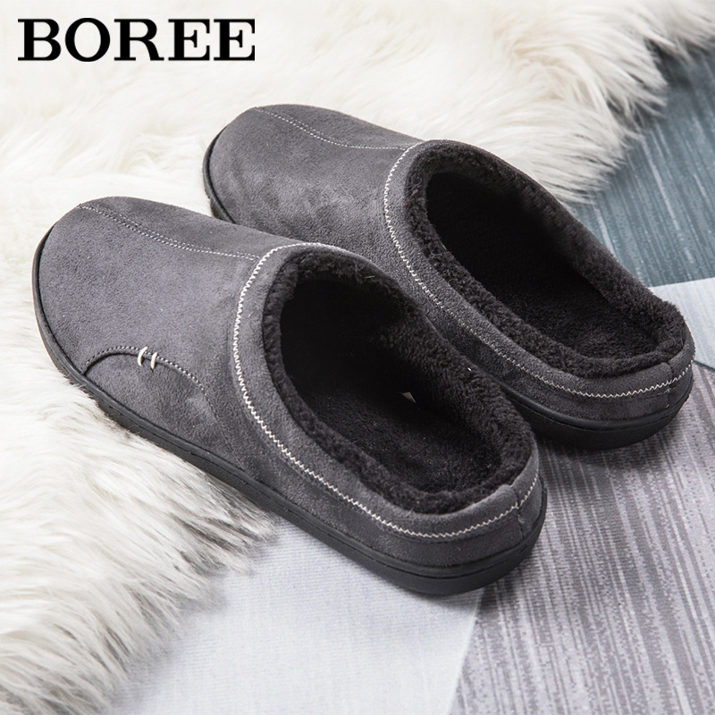 BOREE Classic Home Slippers for Men Winter Suede Short Plush Man Slippers Non Slip Bedroom Slipper Couple Soft Indoor Shoes Male