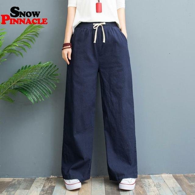 Casual Cotton Linen wide leg Solid Elastic waist