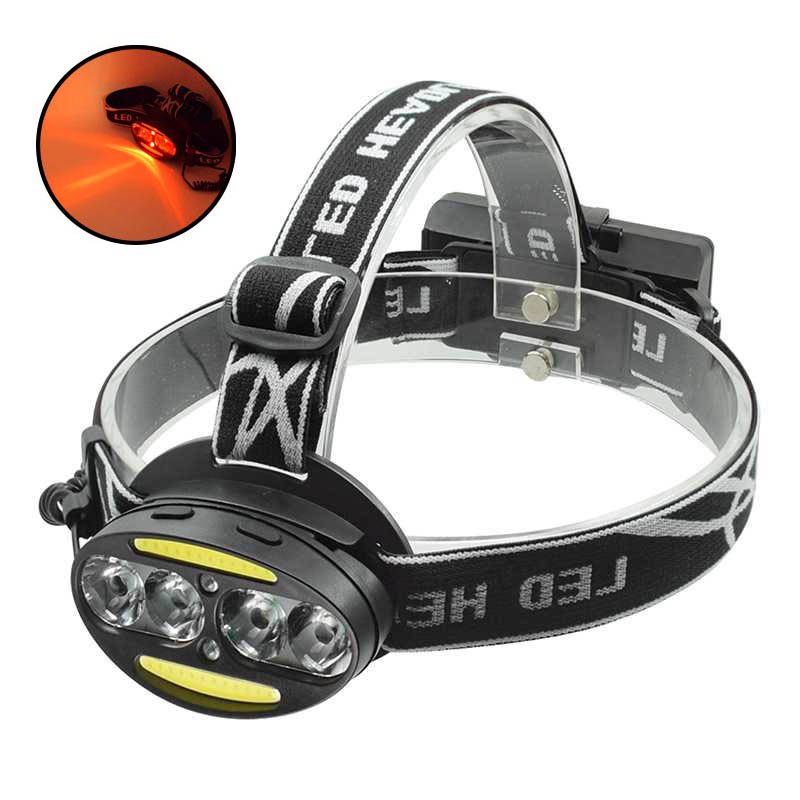 Powerful XML T6+COB Led Headlight White Red Light Rechargeable Head Lamp Waterproof 7-mode Frontal Flashlight For Hunting