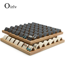 Oirlv Solid Wood Dark Grey/ Beige Earring Display Tray with Microfiber Jewelry Display 49 Seats 	Ear Drop Expositor Organizer