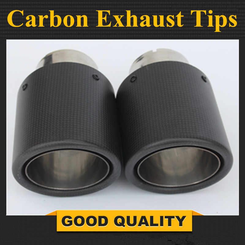 2 uds 63mm / 101mm fibra de carbono + Acero inoxidable universal Auto Punta de escape para extremo de tubo para b mw v g olf