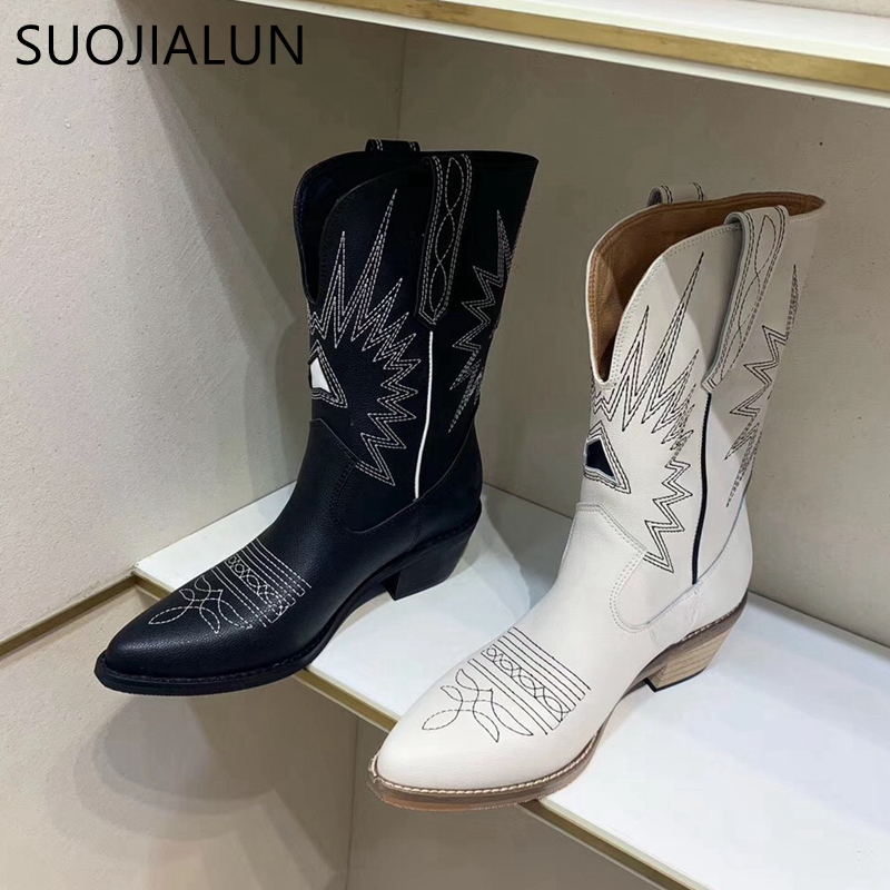 SUOJIALUN New Brand Embroidered Western Cowboy Boots for Women Square Med Heels High Quality Knee High Boot Women Shoes image