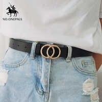 Não. onepaul designer famosa marca leatheralta qualidade cinto moda liga anel duplo círculo fivela menina jeans vestido cintos selvagens