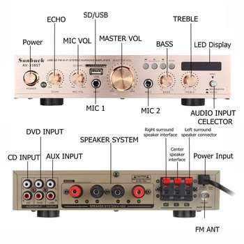 Цифровой Hi-Fi стерео усилитель мощности SUNBUCK AV-338ST, 60 Вт на канал, 5-канальный (4.1) 2