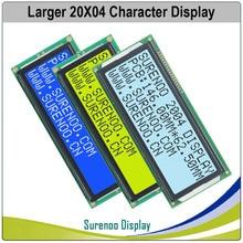 גדול יותר 204 20X4 2004 אופי LCD מודול תצוגת מסך LCM כחול צהוב ירוק עם LED תאורה אחורית
