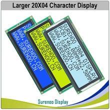 Tela lcm de módulo lcd de personagem grande, 204 20x4 2004, azul, amarelo, verde com luz de fundo led