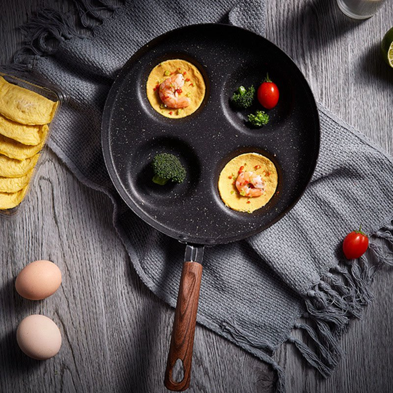Household Four-hole Omelette Pan Portable Household Mini Omelette Pan Not Sticky Pan