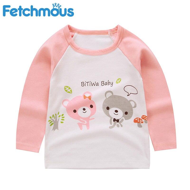 Autumn Baby Cartoon Single Shirt Clothes Boys and Girls T-shirt Baby Bottoming Shirt Winter Children's Long-sleeved Cotton 2