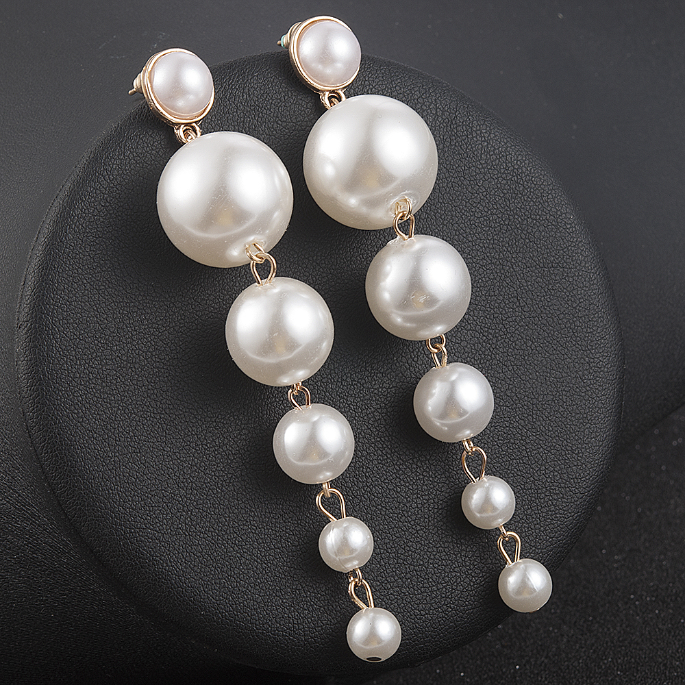 New Trendy Elegant Created Big Simulated Pearl Long Earrings Pearls String Statement Drop Earrings For Wedding Party Gift 3