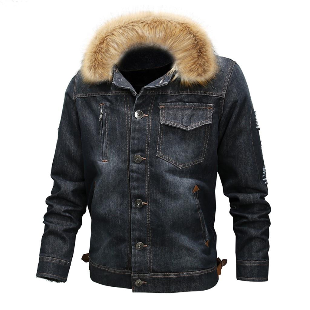 Vêtements pour hommes vestes hommes cou automne hiver Vintage en détresse Demin veste hauts manteau Outwear manteaux et vestes livraison directe