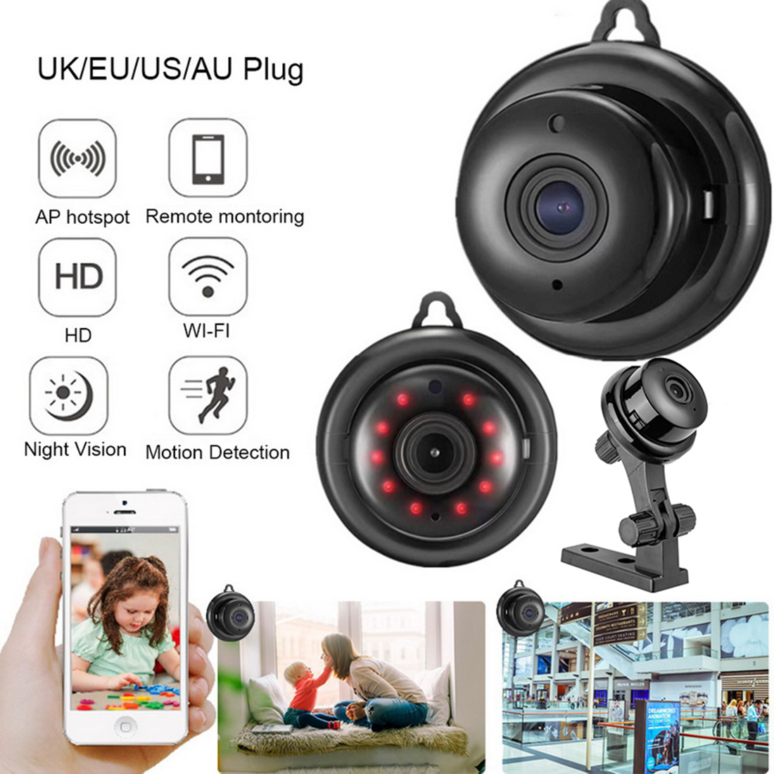 IP Camera Wireless Security Camera Indoor Surveillance System Night Vision Motion Detection Two Way Audio for Home Shop