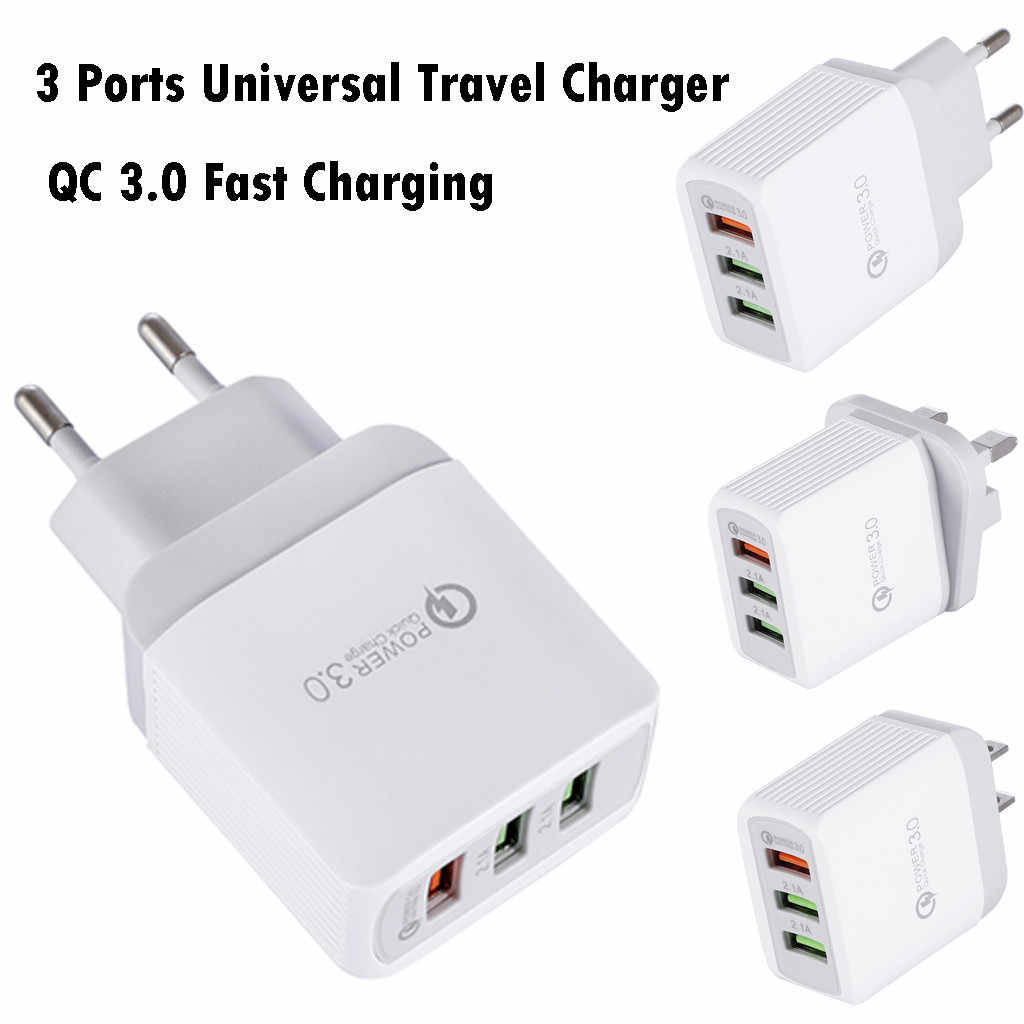 Универсальное зарядное устройство для телефона с 3 портами, 18 Вт, дорожное зарядное устройство QC 3,0, быстрая зарядка, настенное зарядное устройство с разъемом USB для Великобритании, США, ЕС, зарядное устройство s #5