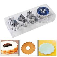7pcs DIY Cookie Cutters Set baking Biscuit mold 6 Patterns Stainless Steel Baking Mold with 1 Press for Biscuit Cookie Pastry stainless steel christmas house cookie mold diy baking cookie tools biscuit fondant cutters christmas cookie cutters