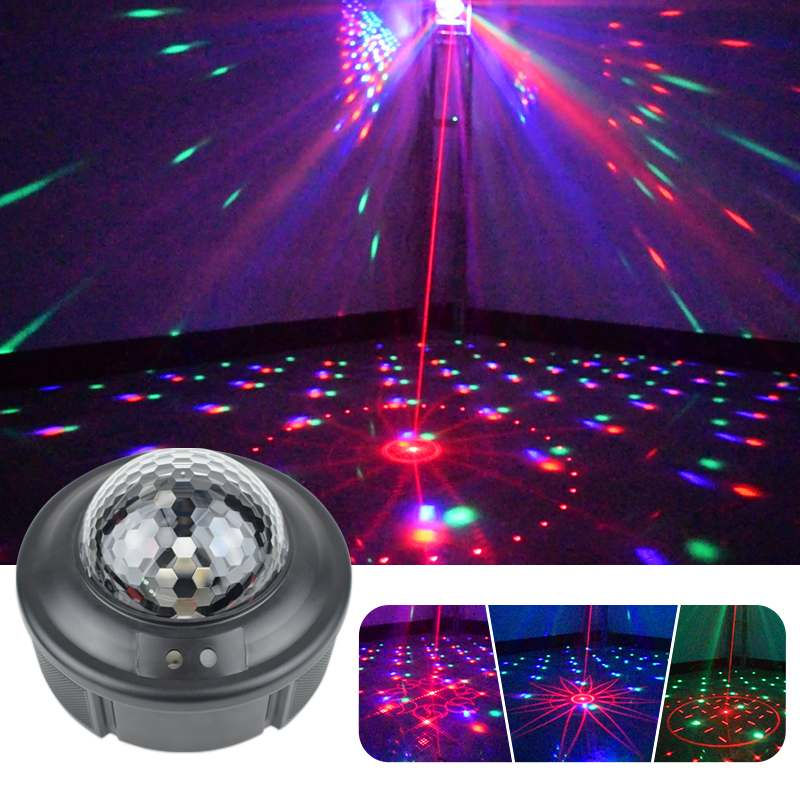 Smuxi RGB Stage Light 90 Patterns Laser Projector LED Crystal Disco Magic Ball Sound Activated Disco Ball Party Lighting Effect