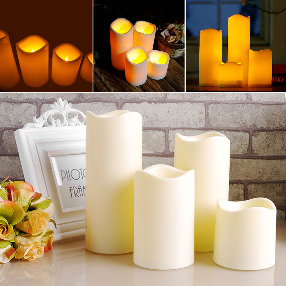 Sale Safty Cylindrical Flickering LED Candle Light Flameless For Garden Yard / Christmas Lamp Decoration