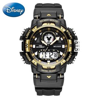 Nowe dzieci Sport Watch 5ATM wodoodporne gumowe zegarki Kid zegarek z podwójnym wyświetlaczem młodych mężczyzn kobiety wielofunkcyjny zegar chłopiec dziewczyna prezent tanie i dobre opinie Disney 5Bar Cyfrowy Podwójny Wyświetlacz QUARTZ RUBBER Klamra Hardlex 23cm Metal 40mm 15065 ROUND 23mm 16mm Stoper Podświetlenie