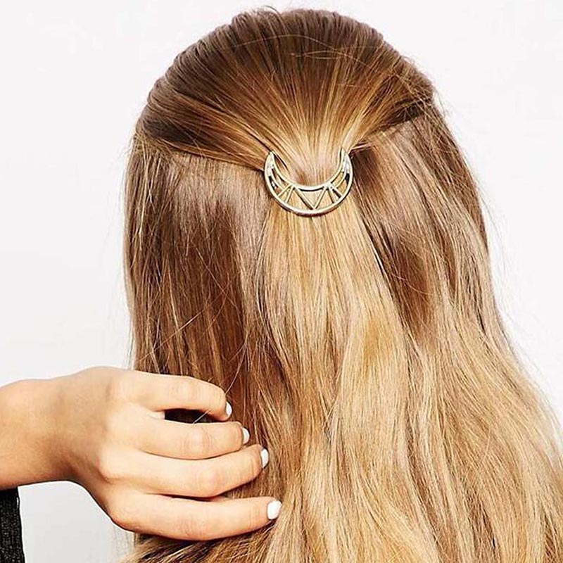 Fashion-Woman-Hair-Accessories-Triangle-Hair-Clip-Pin-Metal-Geometric-Alloy-Hairband-Moon-Circle-Hairgrip-Barrette