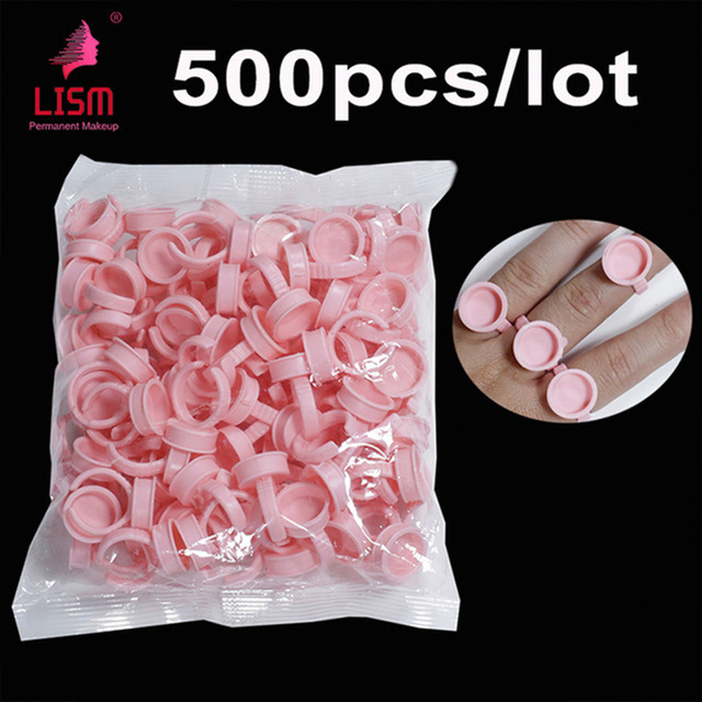 500PCS Pink Disposable Anel Batoque Microblading Tattoo Ink Ring Cap Pigment Cups Glue Container Holder Grafting Eyelash Medium