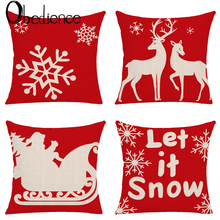 Obedience Christmas Elk Santa Claus Snow Fine Printed Linen Pillow Cover Household Supplies