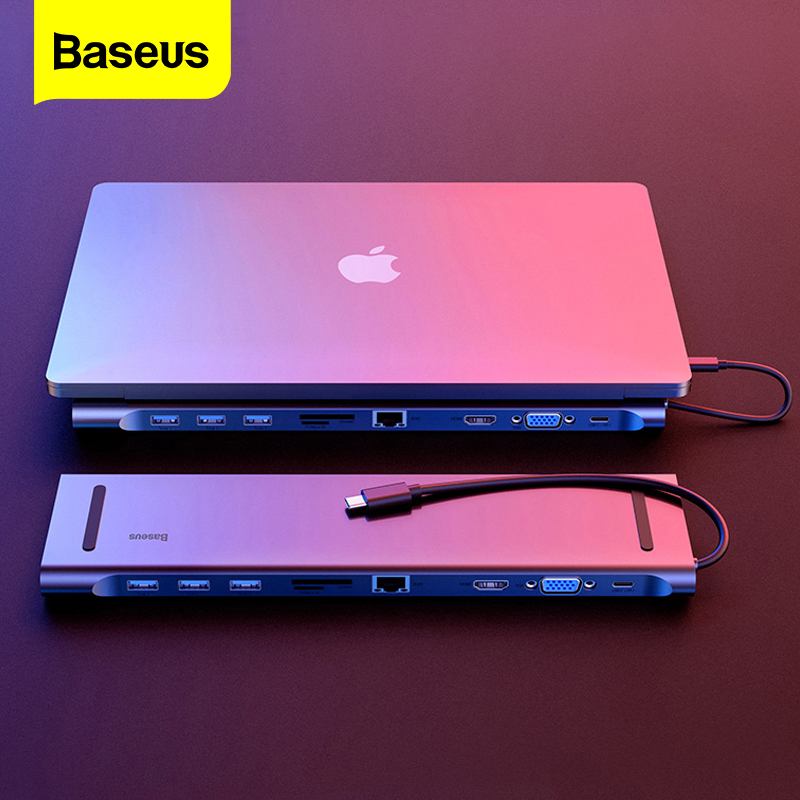 Baseus <font><b>USB</b></font> C <font><b>HUB</b></font> All in One Type C to <font><b>HDMI</b></font> <font><b>VGA</b></font> <font><b>RJ45</b></font> SD/TF Card Reader Audio Converter <font><b>USB</b></font> Splitter For Macbook Pro <font><b>USB</b></font>-C <font><b>3.0</b></font> <font><b>HUB</b></font> image