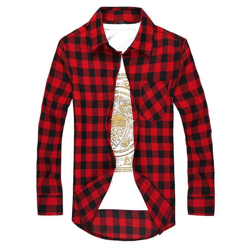 格子縞の男性のシャツ夏メンズ市松長袖シャツ男性ブラウスカミーサ (購入 2 サイズアップ)