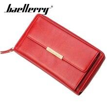 цена Baellerry Wallet Women Soild Shoulder Bag PU Leather Zipper Hasp Porta Belt Long Wallet Note Compartment Smartphone Hold Wallet в интернет-магазинах