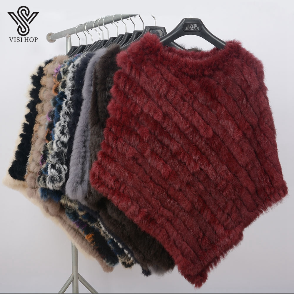 Image 5 - VISI HOP Fashion Style Womens Poncho Real Rabbit Fur Knitted Shawl Ladies Top Quality Cape VS5201Real Fur