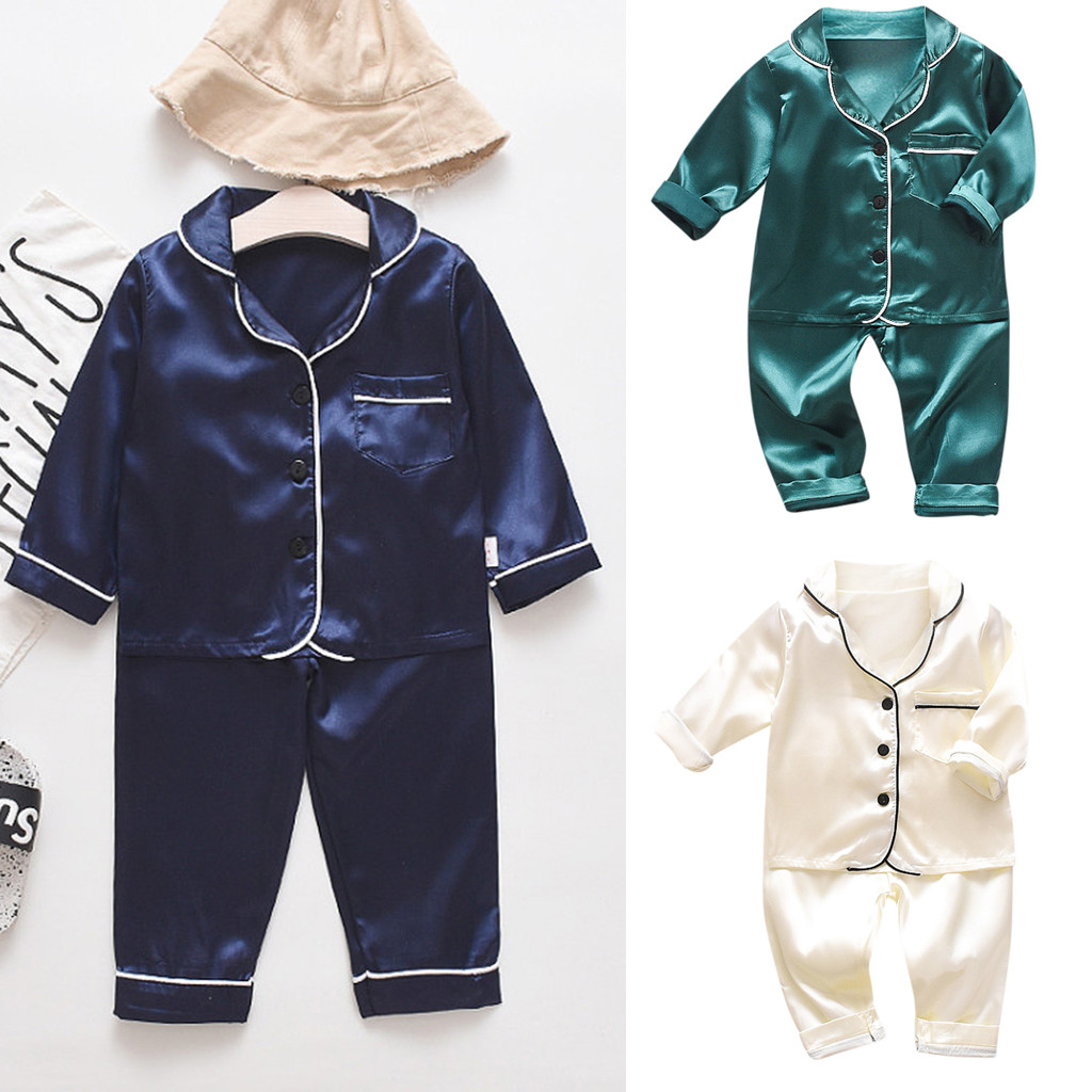 Kids Pajamas Children Sleepwear Baby Pajamas Sets Boys Girls Solid Color Pyjamas Cotton Nightwear Clothes Kids Clothing A2