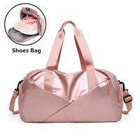 2021 glänzend Yoga Matte Tasche Fitness Sporttasche Trocken Nass Tas Handtaschen für Frauen Schuhe Travel Training Sac De Sport rosa Gymtas Duffel