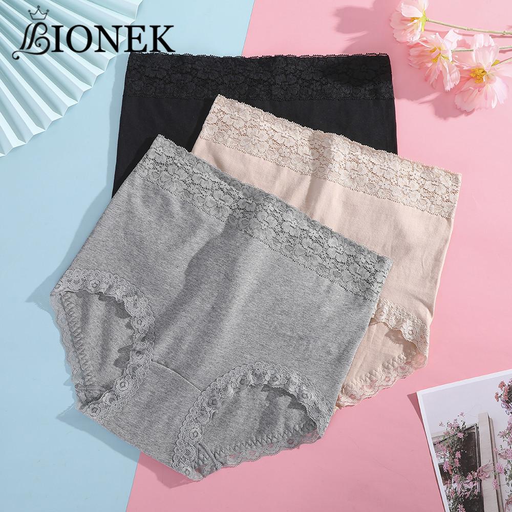 BIONEK Cotton Plus Size High Waist Women's Panties Solid Lace Briefs Underwear Female Sexy Underpants Breathable Lingerie