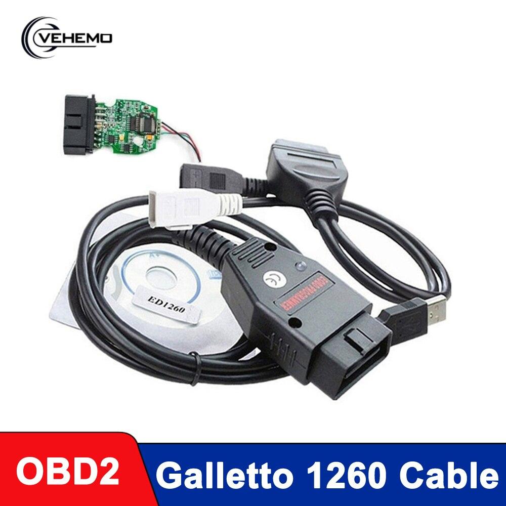 Galletto 1260 ECU Flasher Obd2 Cable Professional Car Diagnostic Cable Auto Tools Remap Black