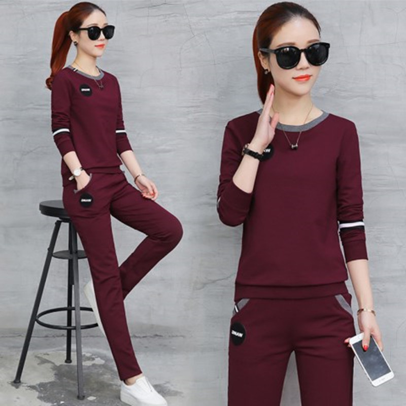 2 Piece Set Women Sports Suit Female Autumn New Women's Slimming Long Sleeved T Shirt Casual Pants Women's Two Piece Suit