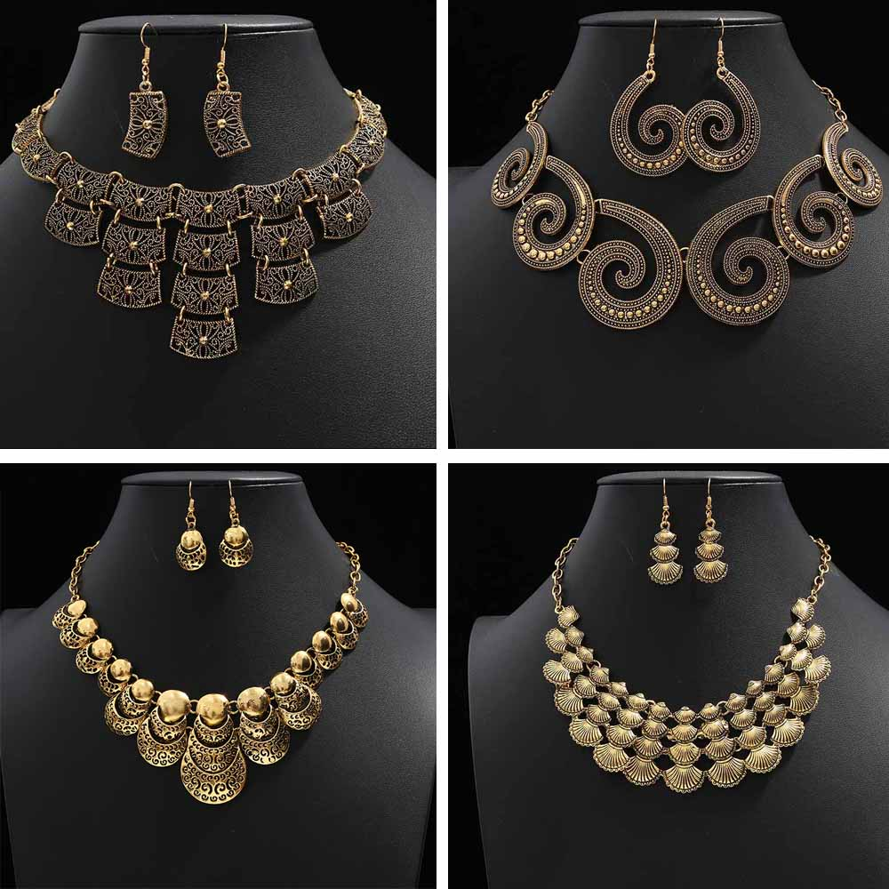 Fashion African GOLD Silver Color African Jewelry Sets for Women Wedding Costume Jewelry Sets Necklace Earrings Accessories