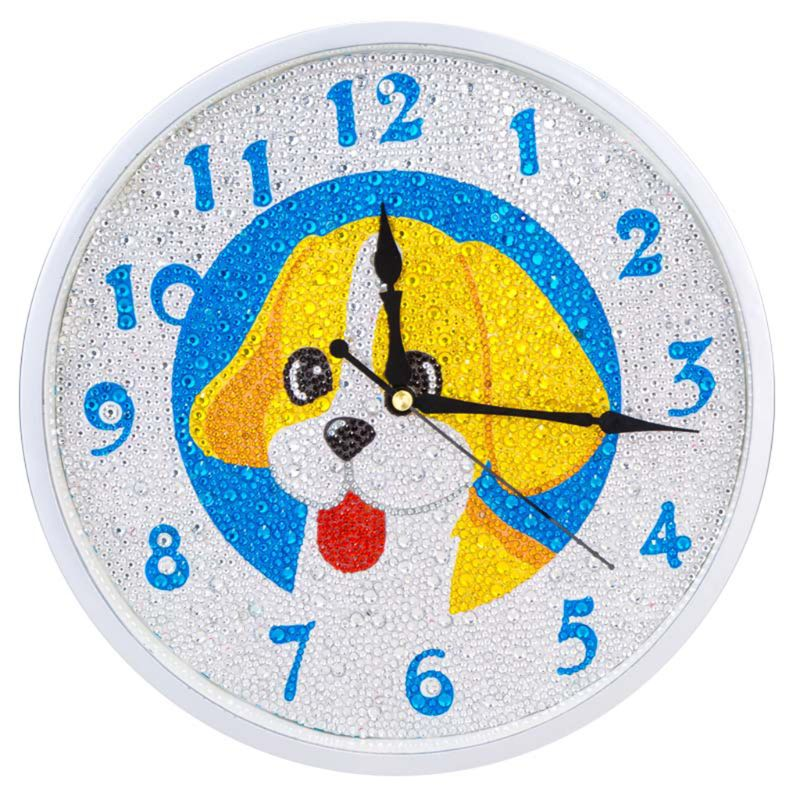 Dog DIY Clock Diamond Painting Kits , Wall Decor with Colorful Diamonds ,Kids Arts and Crafts Kit Includes Mechanism ,Gift