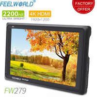 Feelworld FW279 7 pulgadas IPS 2200nits Cámara Monitor de campo 4K HDMI entrada salida 1920X1200 LCD Monitor para DSLR estabilizador