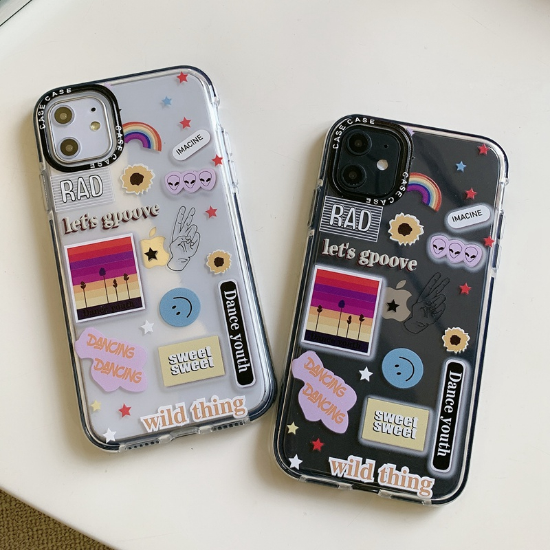 Rainbow Smile Face Sticker Label Coque Case For iphone 11 Pro Max XS X XR 6 6S 7 8 Plus Soft TPU Clear Cover iphoneX Phone Cases