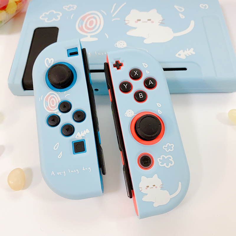 STARRY FOREST cute cat blue soft protective case shell for nintendo switch for girls