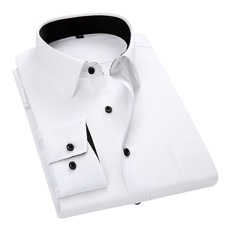High Quality Men Shirt 2020 Spring Long Sleeve Dress Formal Business Work Shirt Men Twill Shirts Slim Fit Man White Shirts DS378