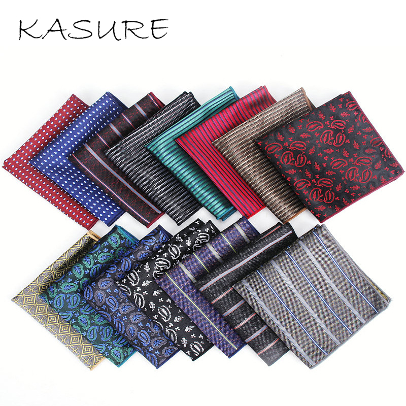KASURE Men Square Handkerchiefs Luxury Jacquard Pocket Handkerchiefs Vintage Hankies Fashion Full Dress Accessories