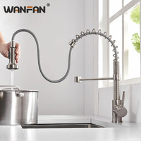 OWOFAN Modern Polished Brushed Nickel Brass Kitchen Sink Faucet Pull Out Single Handle Swivel Spout Vessel Sink Mixer Tap N22207